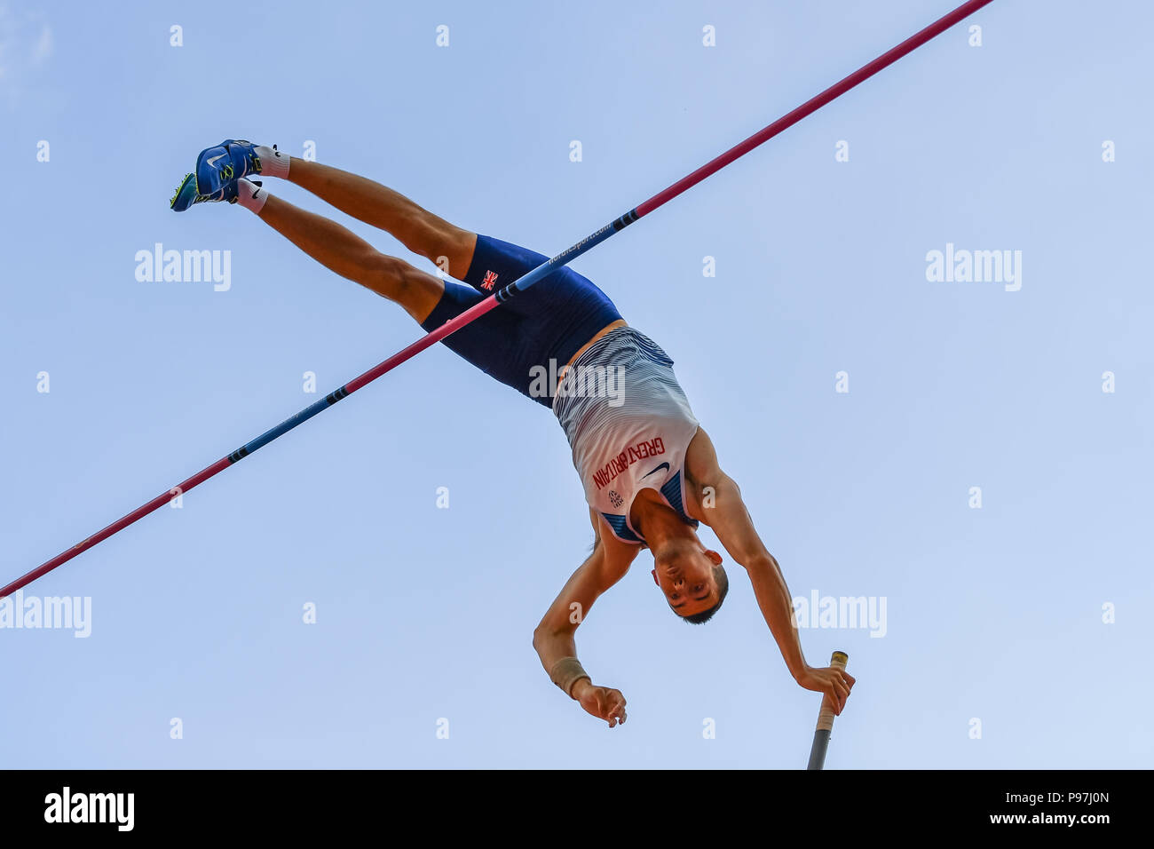 Charlie Myers (GBR) in Men's Pole Vault during Athletics World Cup London 2018 at London Stadium on Sunday, 15 July 2018. LONDON, ENGLAND. Credit: Taka G Wu - Stock Image