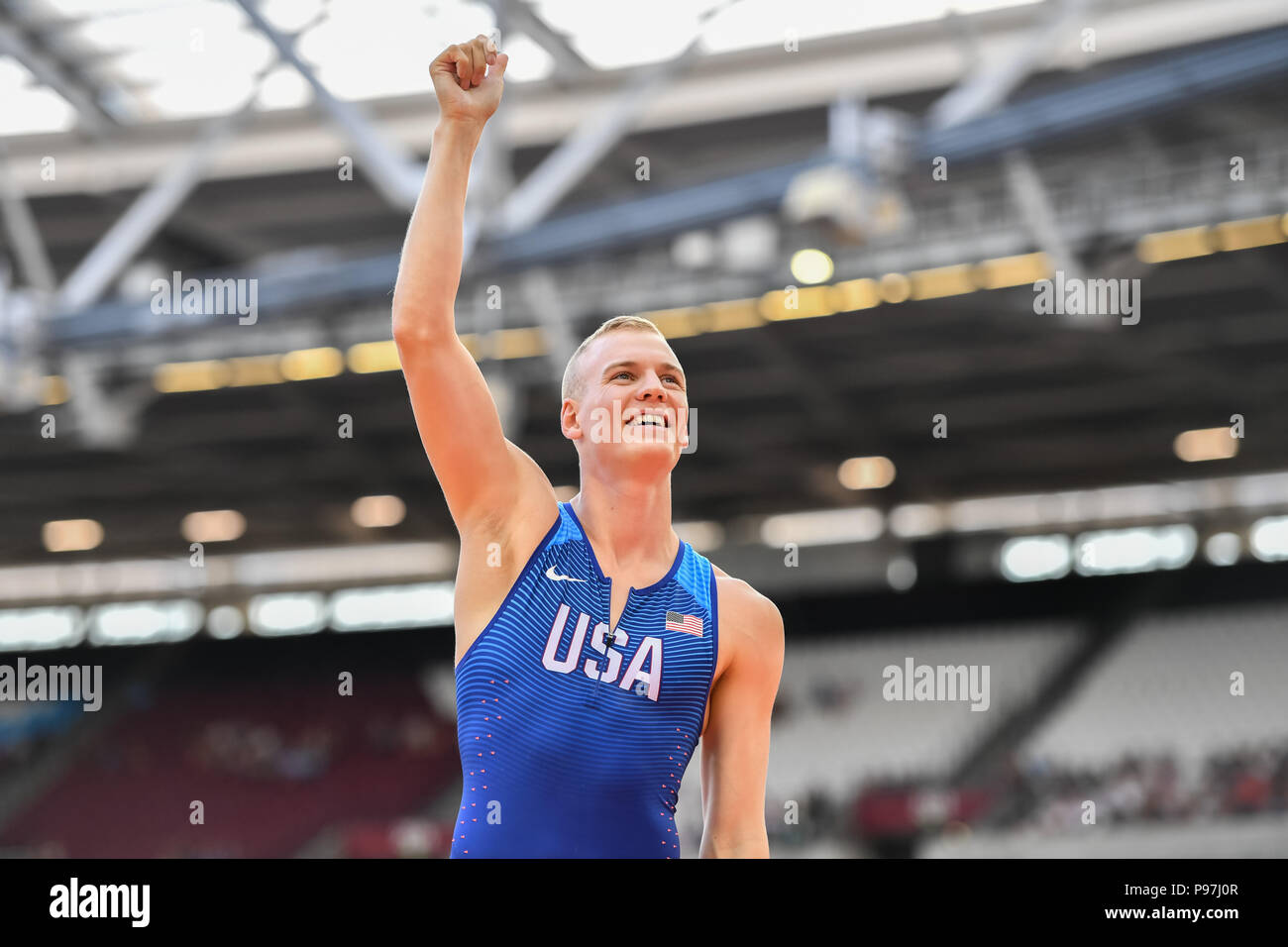 Sam Kendricks celebrates wining the Men's Polo Vault during Athletics World Cup London 2018 at London Stadium on Sunday, 15 July 2018. LONDON, ENGLAND. Credit: Taka G Wu - Stock Image