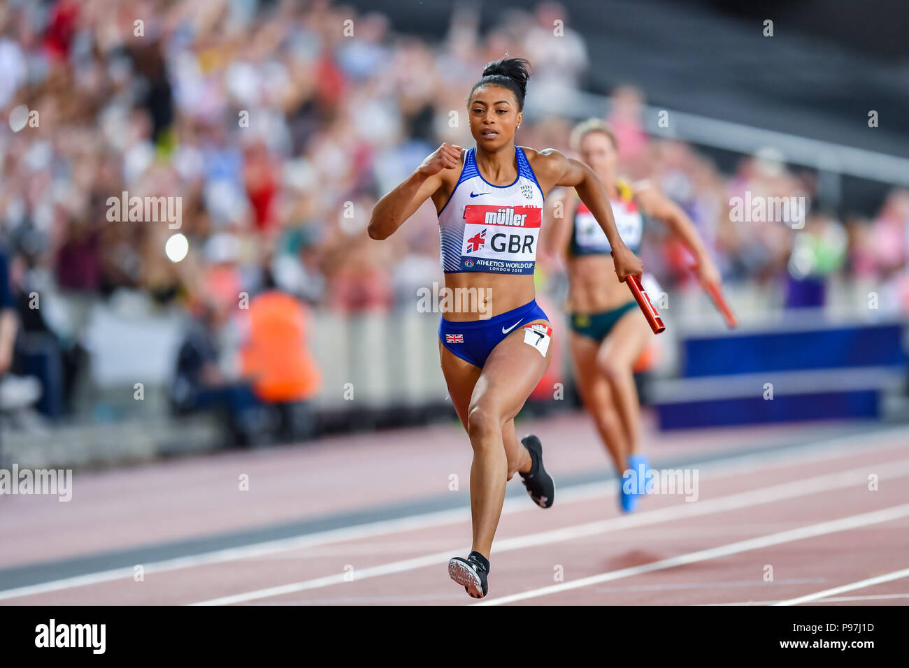 Shannon Hylton (GBR) in Women's 4 x 100m Relay during Athletics World Cup London 2018 at London Stadium on Sunday, 15 July 2018. LONDON, ENGLAND. Credit: Taka G Wu - Stock Image
