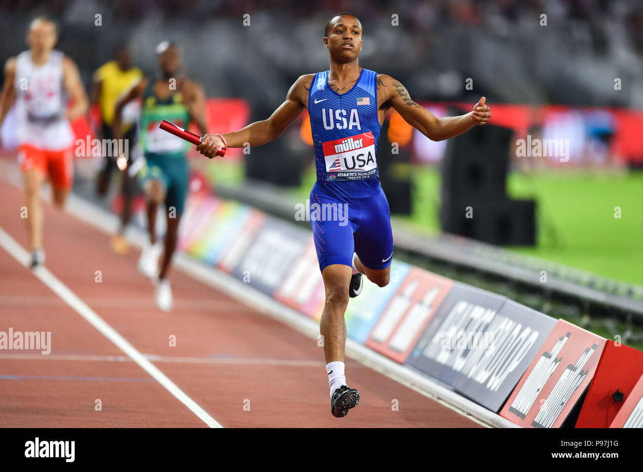 Kahmari Montgomery (USA) in Men's 4x 400m Relay during Athletics World Cup London 2018 at London Stadium on Sunday, 15 July 2018. LONDON, ENGLAND. Credit: Taka G Wu - Stock Image