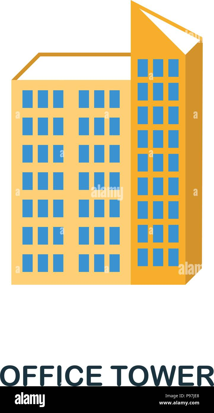 Office Tower flat icon. Premium style flat icon design. UI. Illustration of office tower flat icon. Pictogram isolated on white. Ready to use in web d - Stock Vector