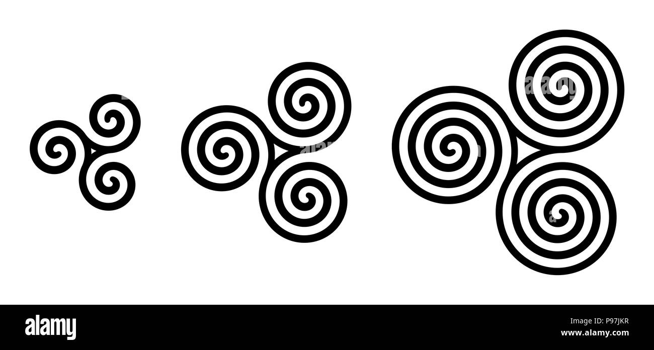 Black Celtic triskelion spirals over white. Triple spirals with two, three and four turns. Motifs of three twisted and connected spirals. - Stock Image