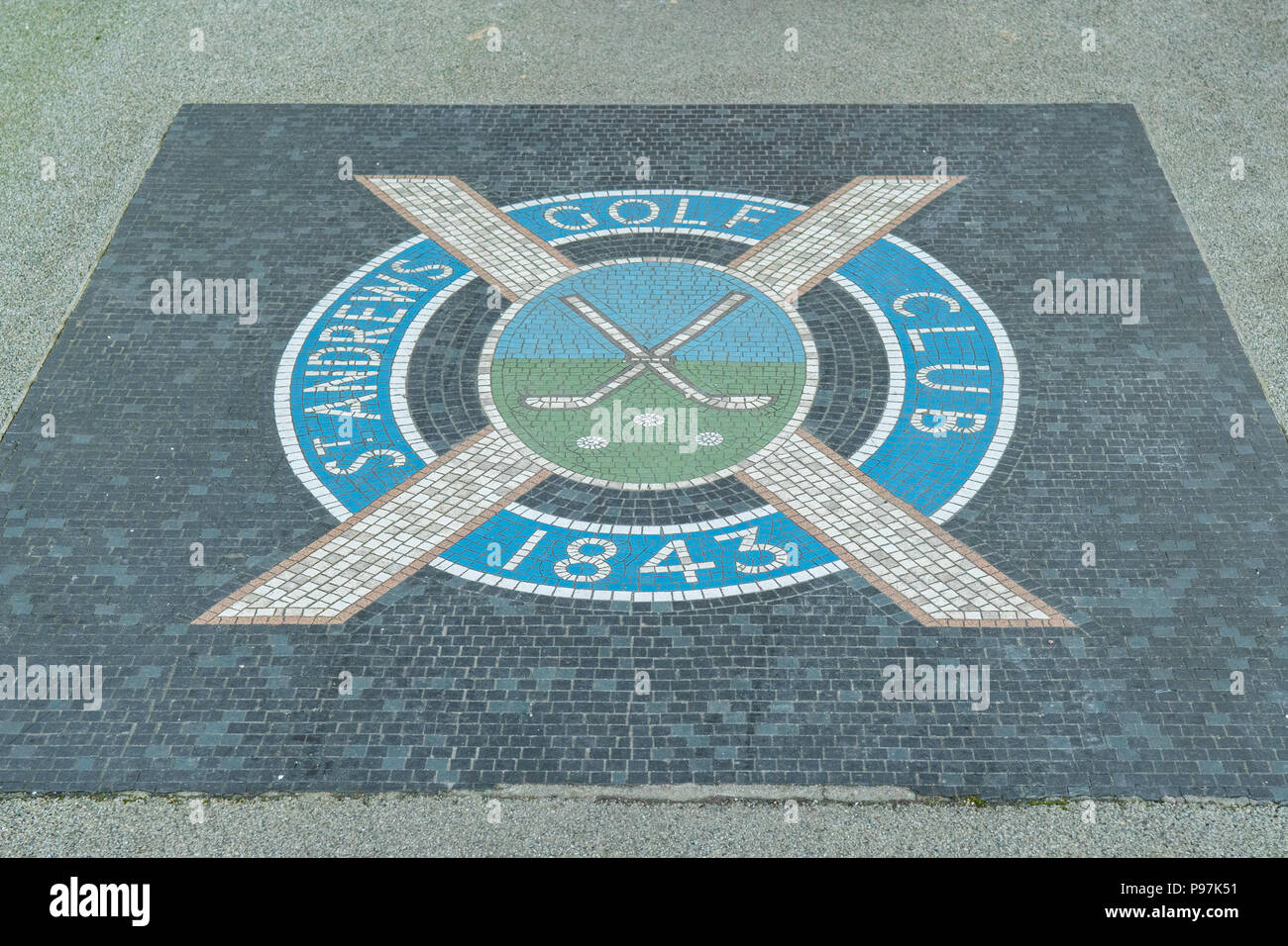 St Andrews Golf Club, Links House, St Andrews, Fife, Scotland, UK - mosaic on footpath leading to door of the private members club - Stock Image