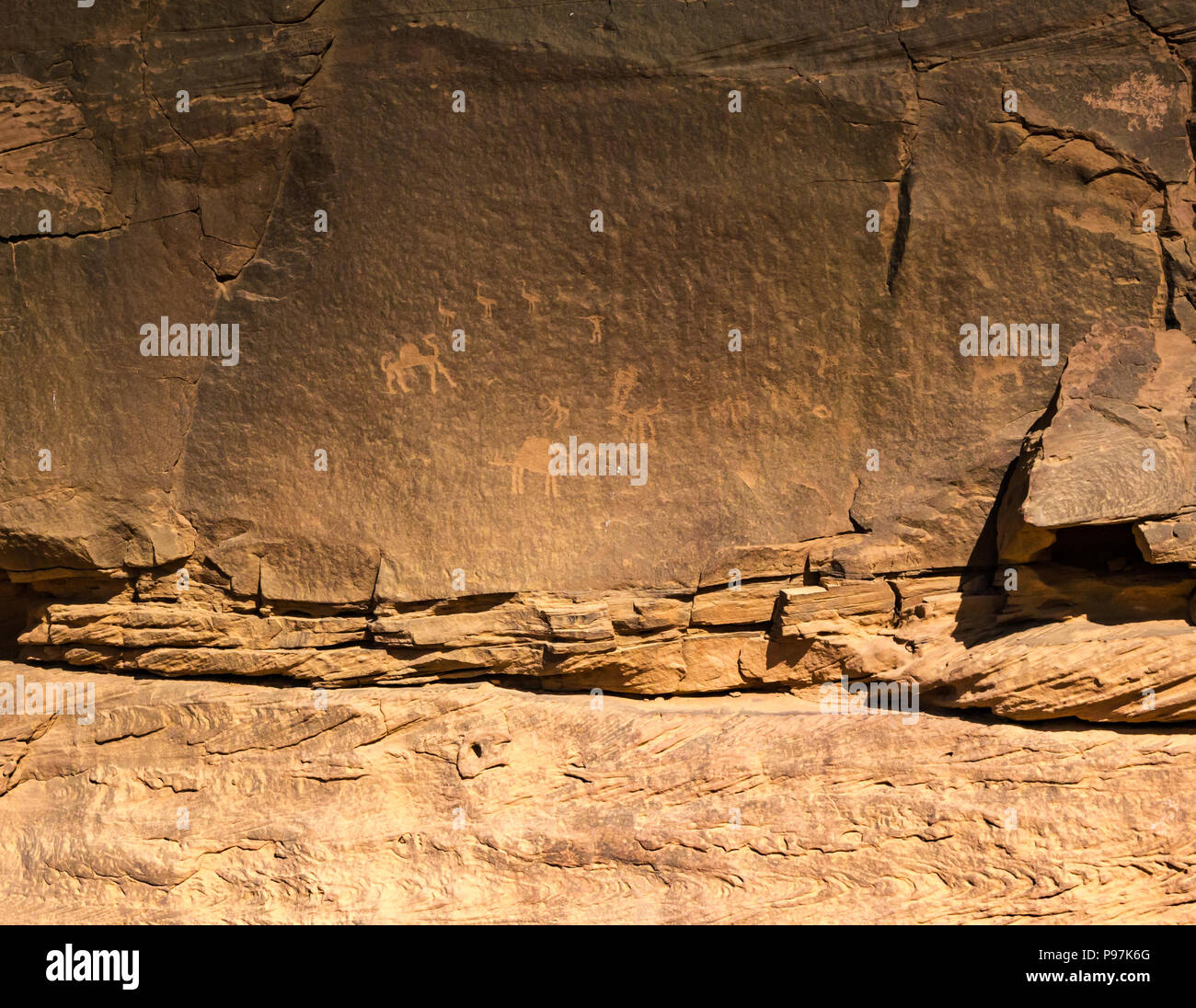 Petroglyph rock carvings of camel and birds Wadi Rum desert valley, Jordan, Middle East - Stock Image