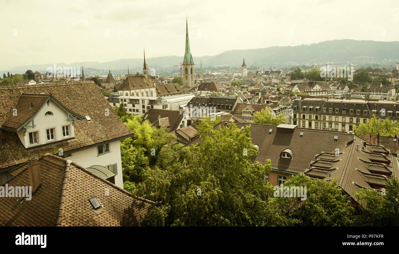 Panorama of Zurich city, Switzerland - Stock Image