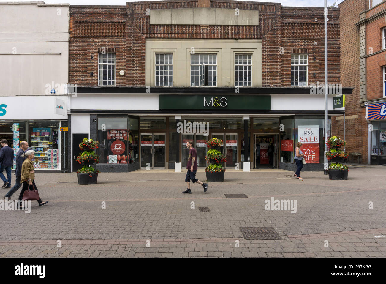 Marks and Spencer store, High Street, Kettering, Northamptonshire, UK; affected by the firm's closure plans and due to close on 11 August 2018 - Stock Image
