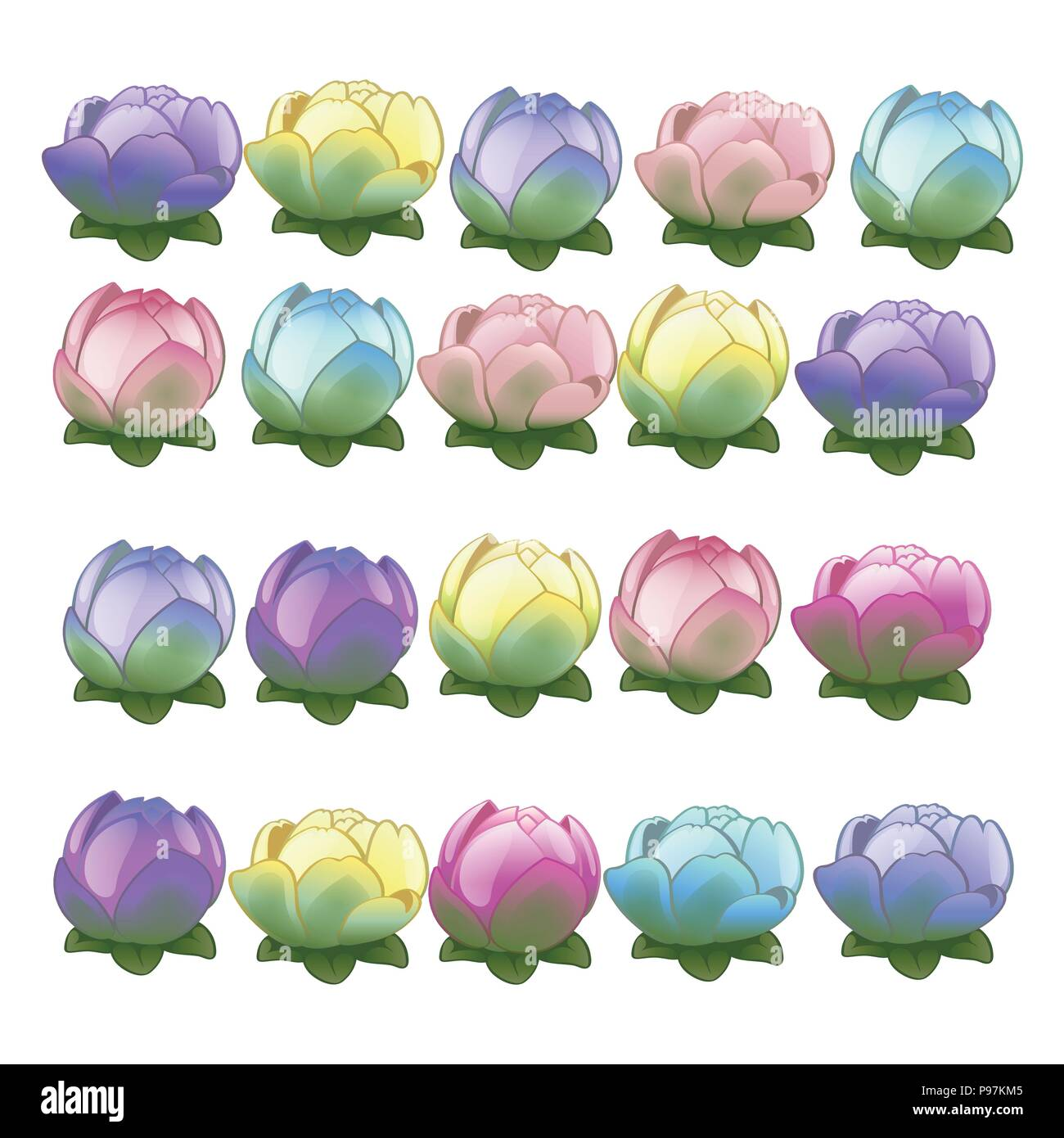 Set of colorful flower buds isolated on white background. The beauty of nature and the environment. Vector illustration. - Stock Vector