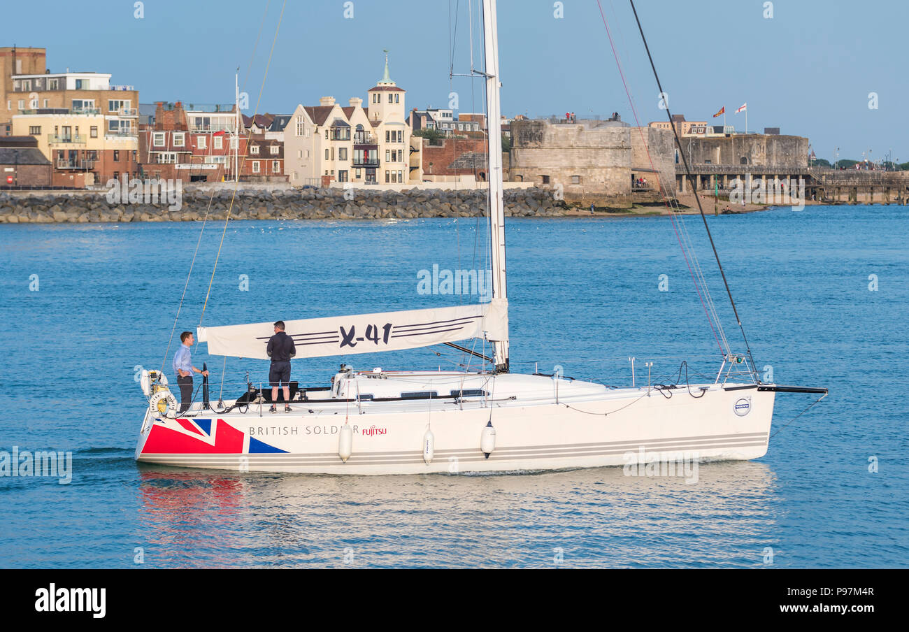 ASA Racing Yacht, British Soldier, a J111 British Army Association racing yacht with sails down in Portsmouth Harbour, Portsmouth, England, UK. - Stock Image