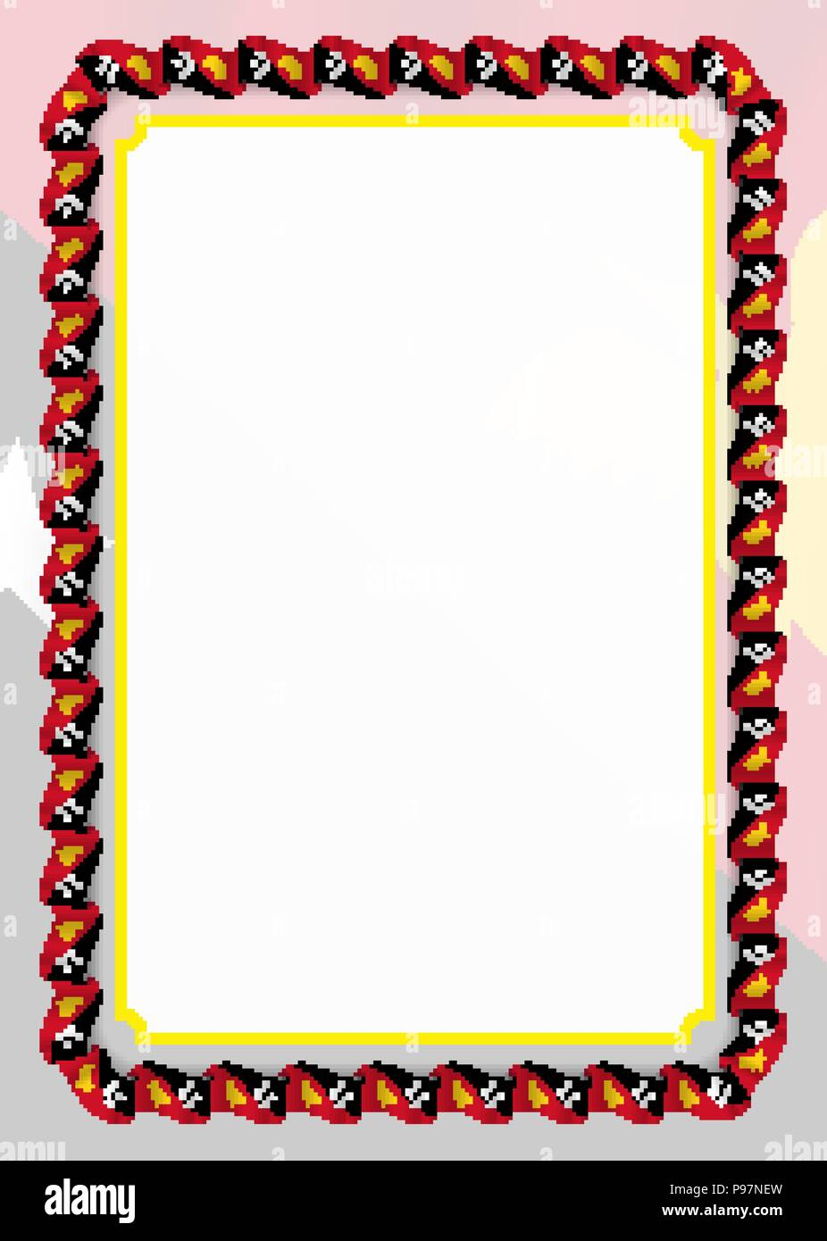Frame and border of ribbon with Papua New Guinea flag, template ...