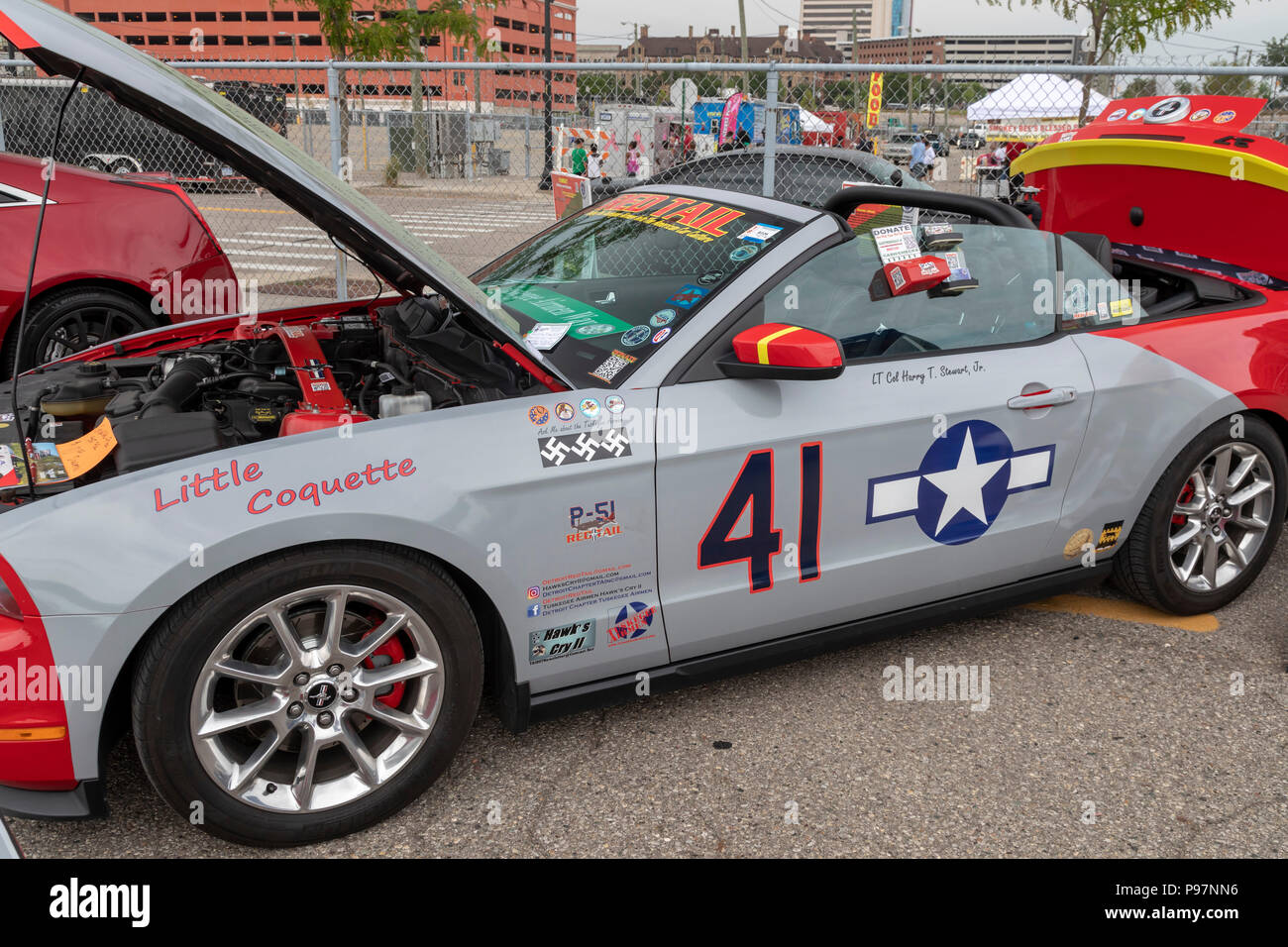 Detroit, Michigan - A Ford Mustang decorated to look like the P-51 Mustang flown by the Tuskegee Airmen during World War II. The car was on display at - Stock Image