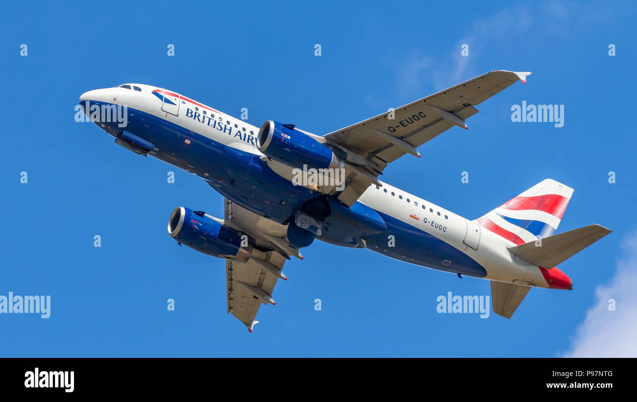Berlin, Germany, 15.07.2018: British Airways Airbus A319 aircraft flying in the sky, Tegel AirportStock Photo
