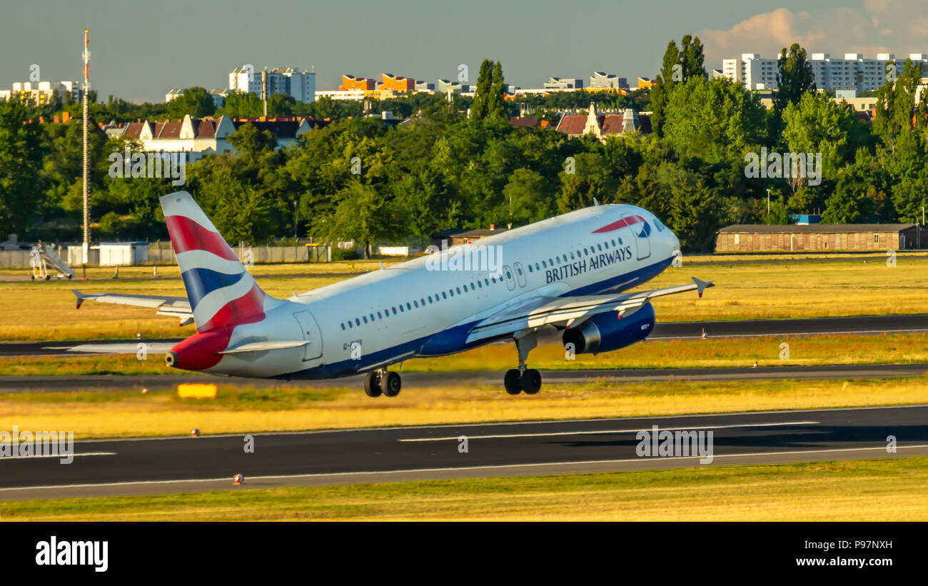Berlin, Germany, 01.07.2018: British Airways Airbus A320 aircraft flying out of Tegel AirportStock Photo
