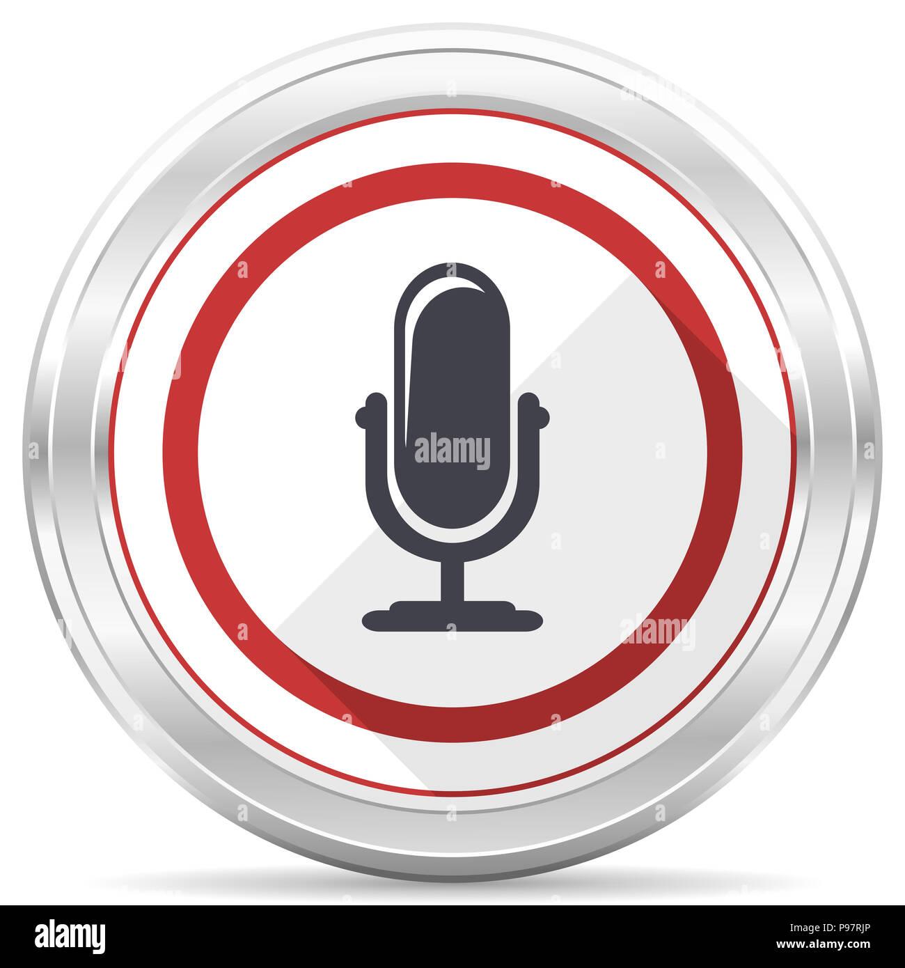 Microphone silver metallic chrome border round web icon on white background - Stock Image