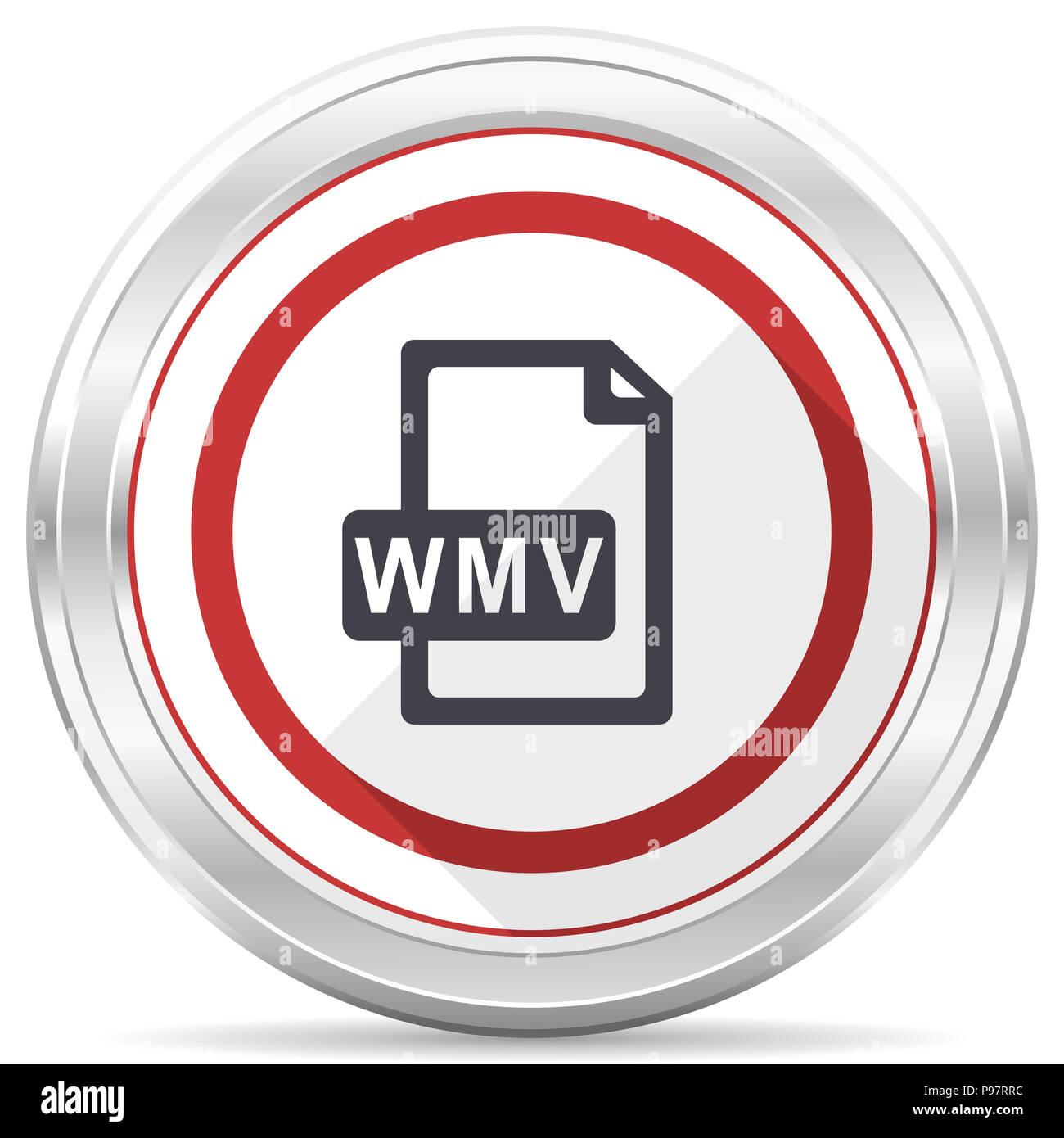 Wmv file silver metallic chrome border round web icon on white