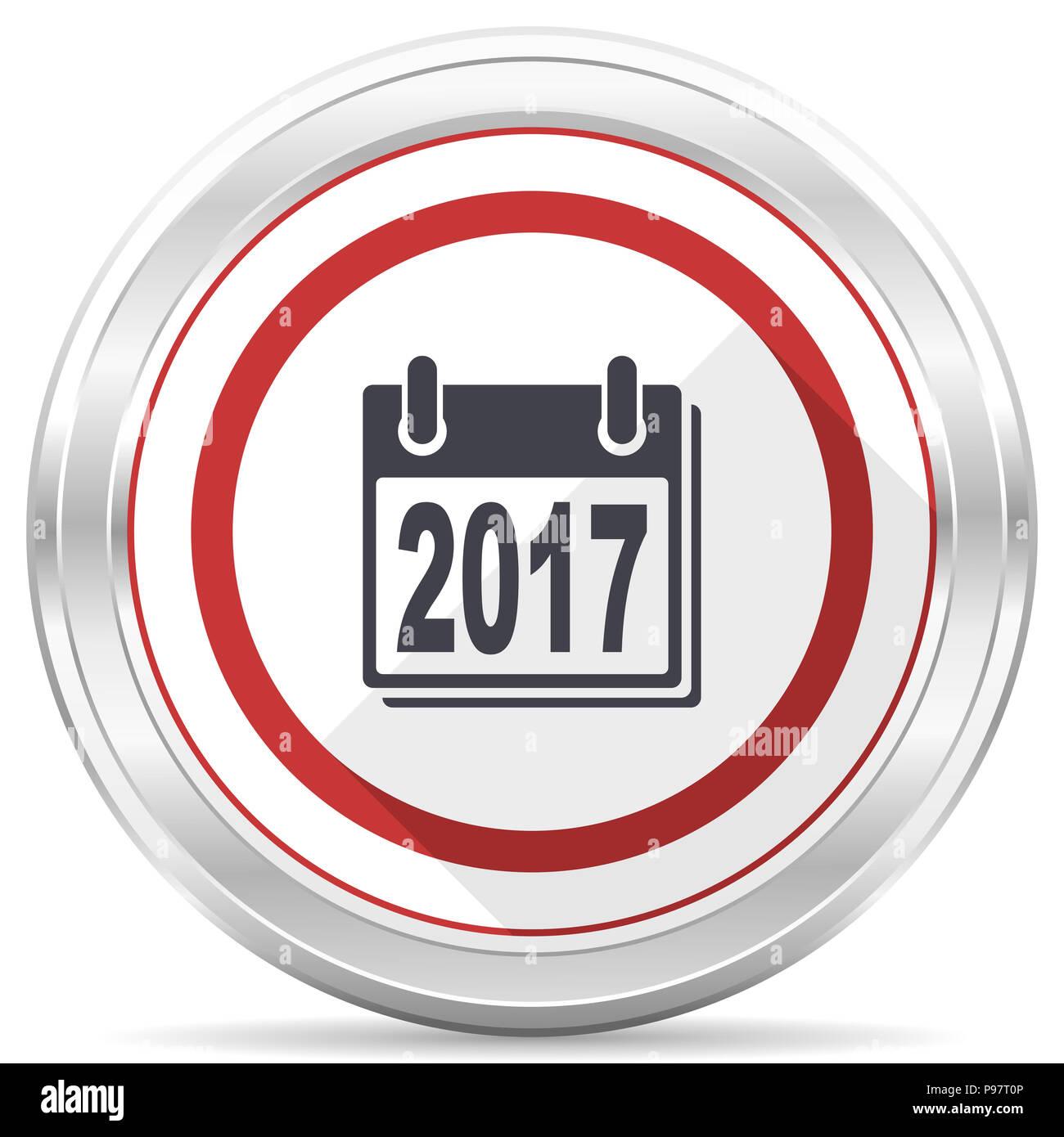 new year 2017 silver metallic chrome border round web icon on white background stock image