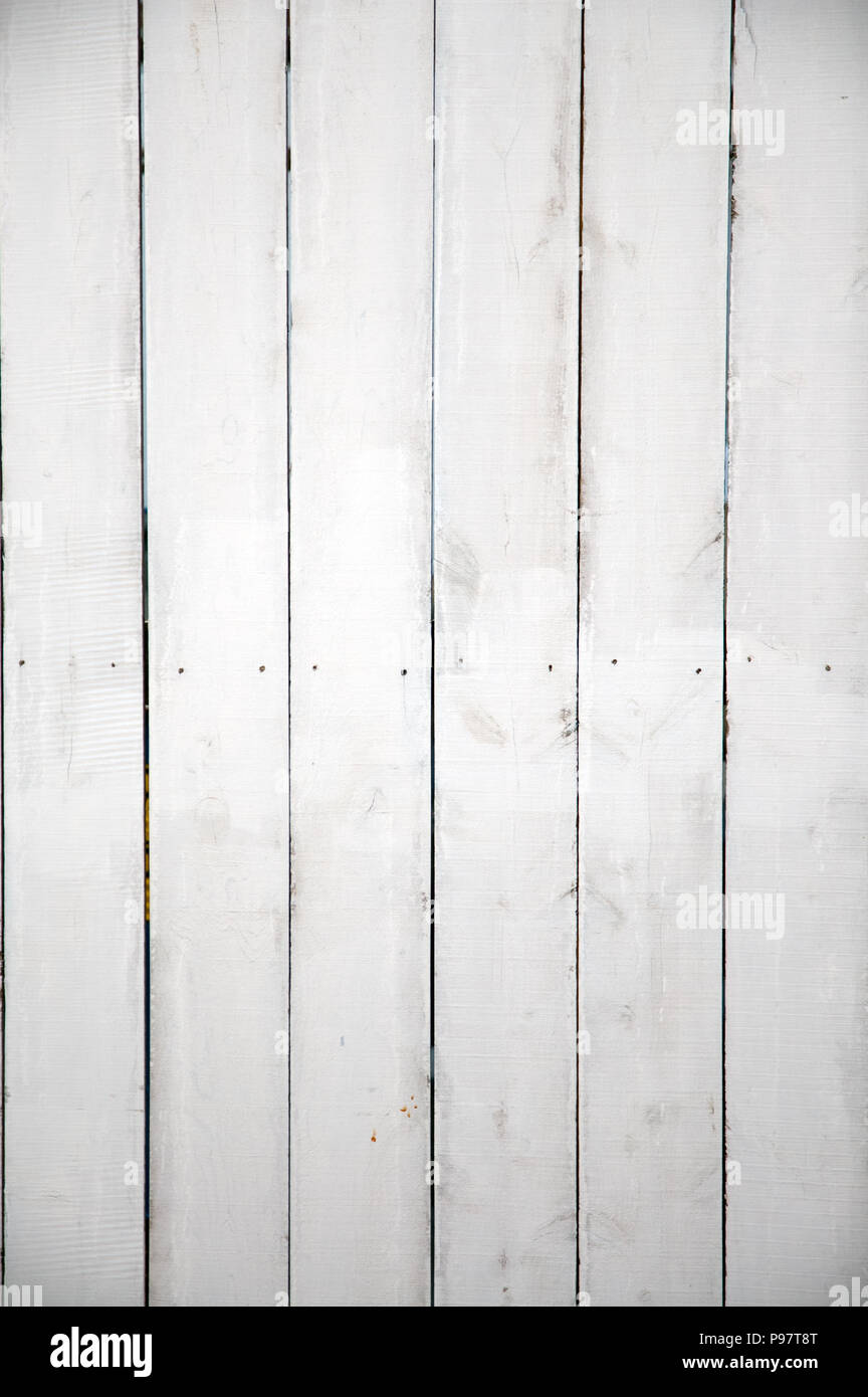 White Wooden Planks, Picket Fence Style Background. Image Works Well As  Vertical Or Horizontal Image.