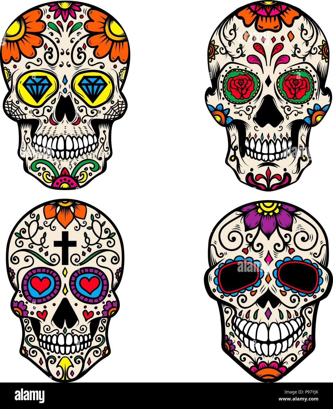 set of colorful sugar skull isolated on white background day of the