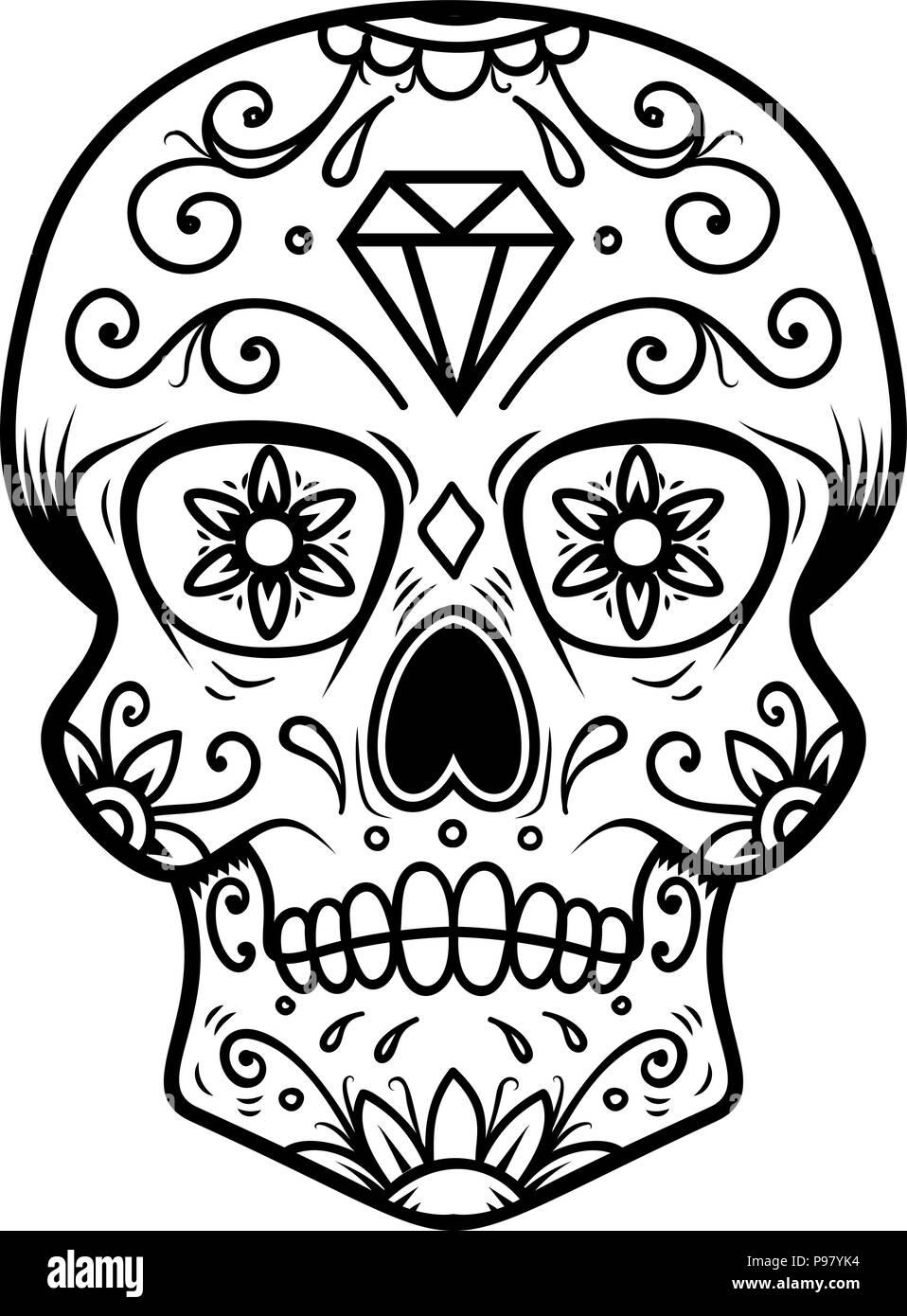This is a photo of Amazing Black And White Sugar Skull Drawing