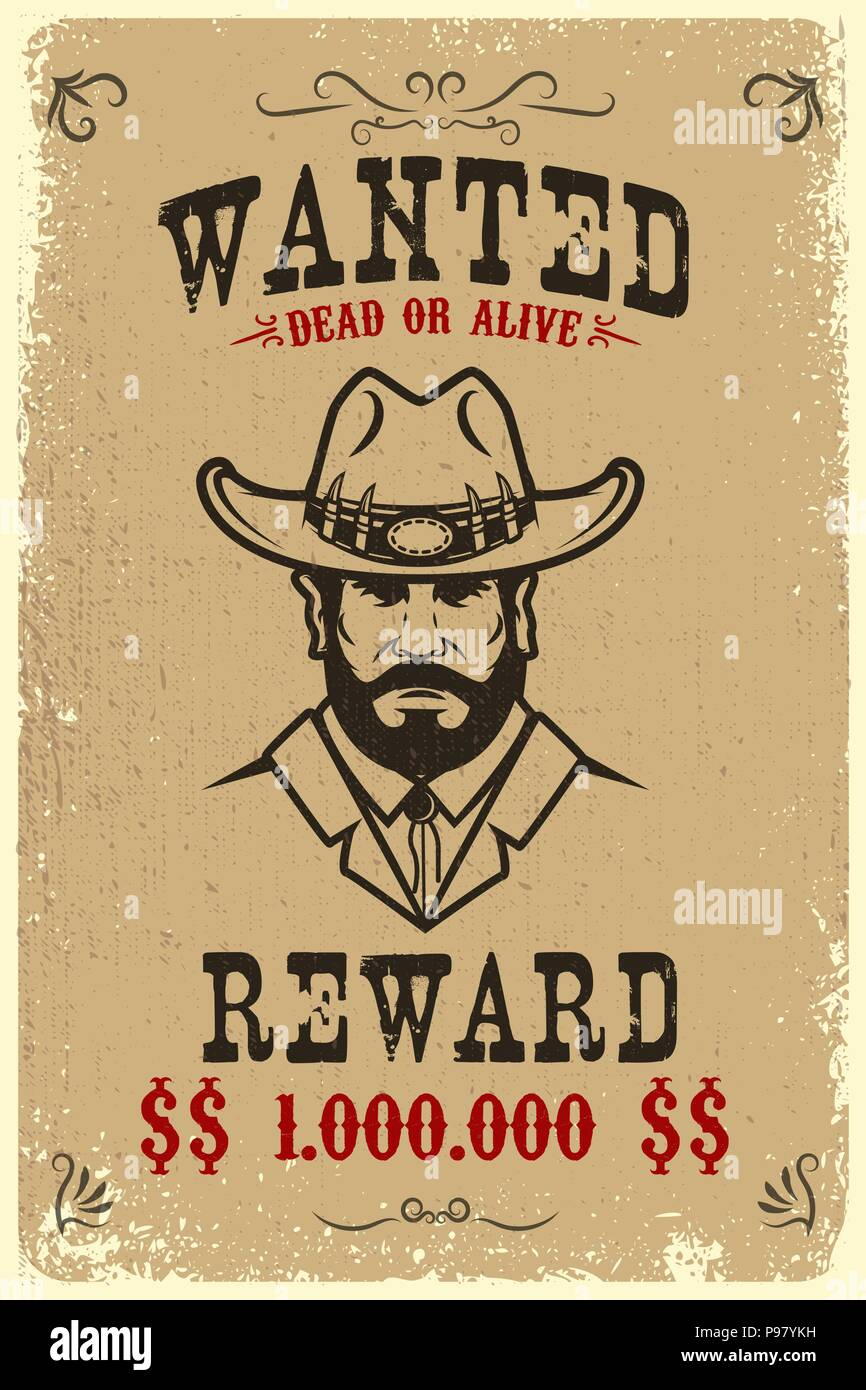 vintage wanted poster template with old paper texture background