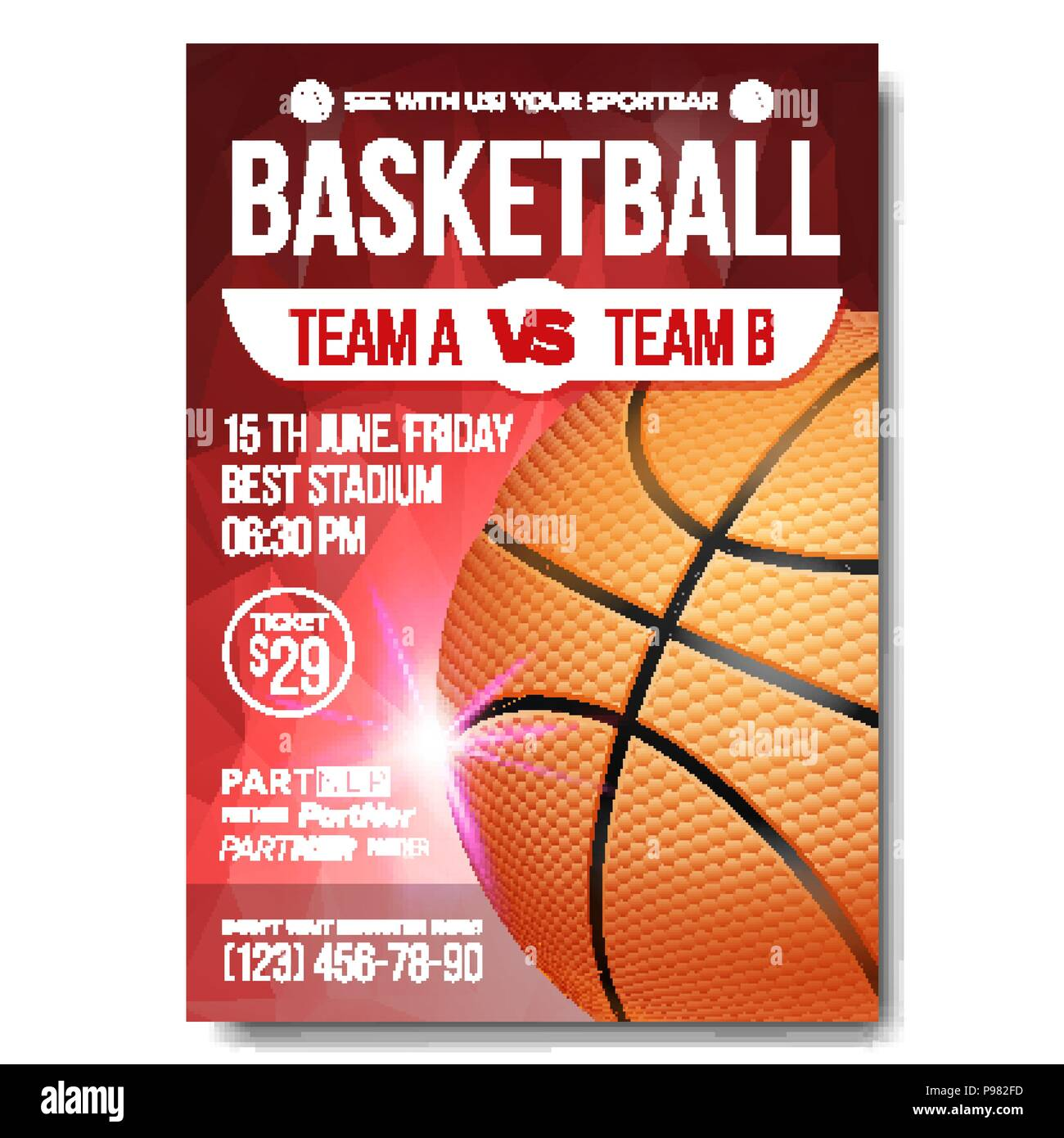 sport event announcement banner advertising leaflet ball professional league event flyer illustration