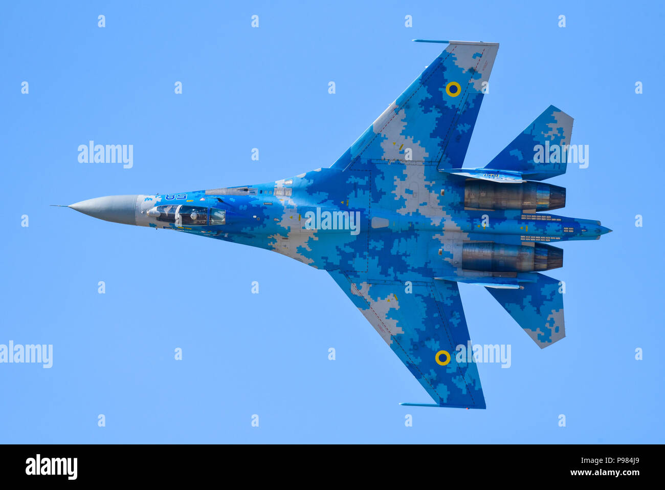 Ukrainian Sukhoi Su-27 Flanker at Royal International Air Tattoo, RIAT 2018, RAF Fairford. Russian jet fighter flying airshow air display - Stock Image