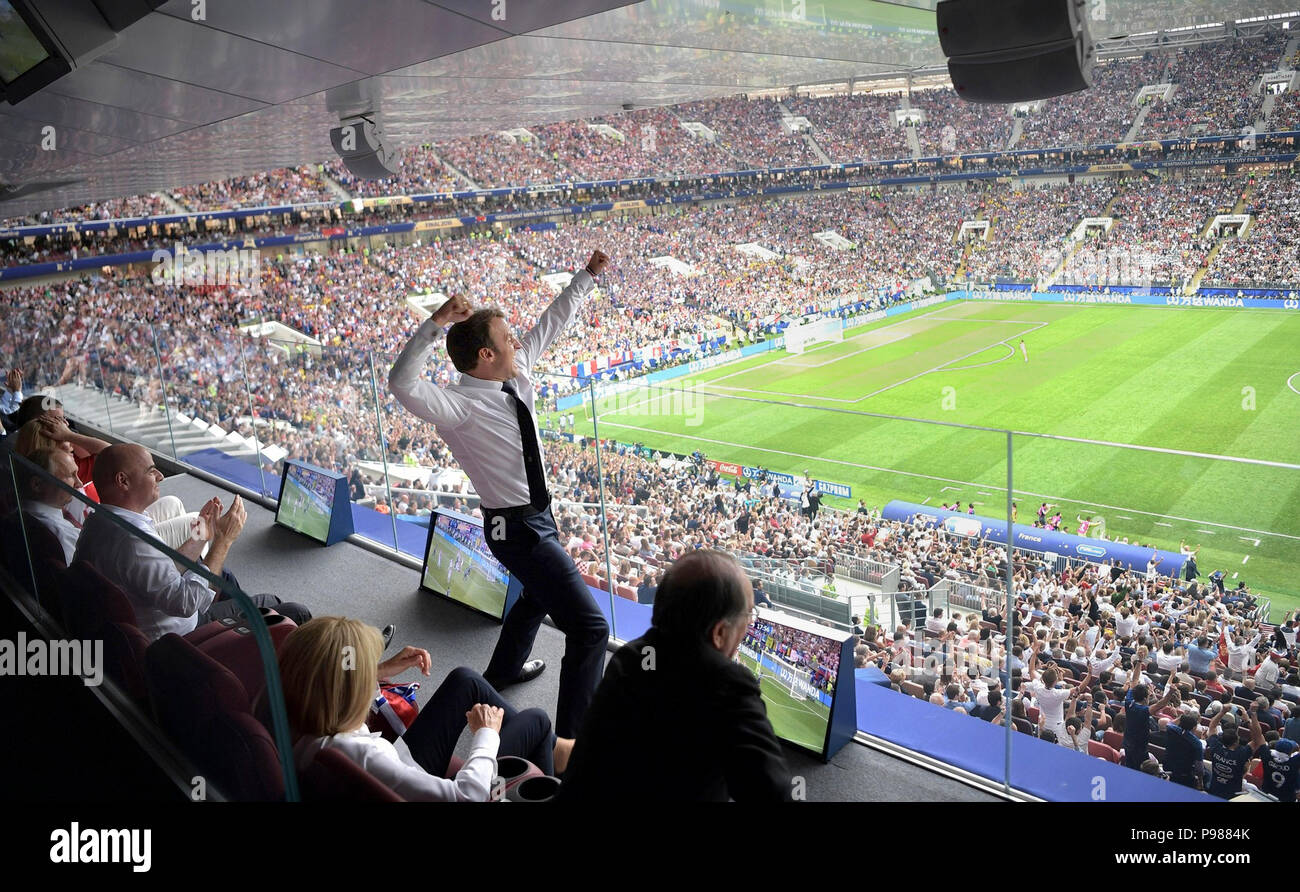 French President Emmanuel Macron celebrates a French goal during the 2018 FIFA World Cup Final at Luzhniki stadium July 15, 2018 in Moscow, Russia. France defeated Croatia 4-2. - Stock Image