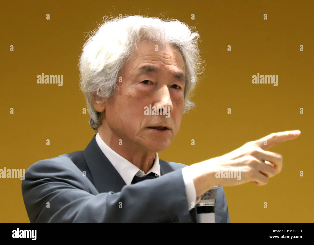 Tokyo, Japan. 15th July, 2018. Former Japanese Prime Minister Junichiro Koizumi speaks before membersof Ichiro Ozawa's Liberal Party in Tokyo on Sunday, July 15, 2018. Two political rivals Koizumi and Ozawa cooperate for the movement away from nuclear energy after the March 11 nuclear accident at TEPCO's Fukushima nuclear plant. Credit: Yoshio Tsunoda/AFLO/Alamy Live News - Stock Image