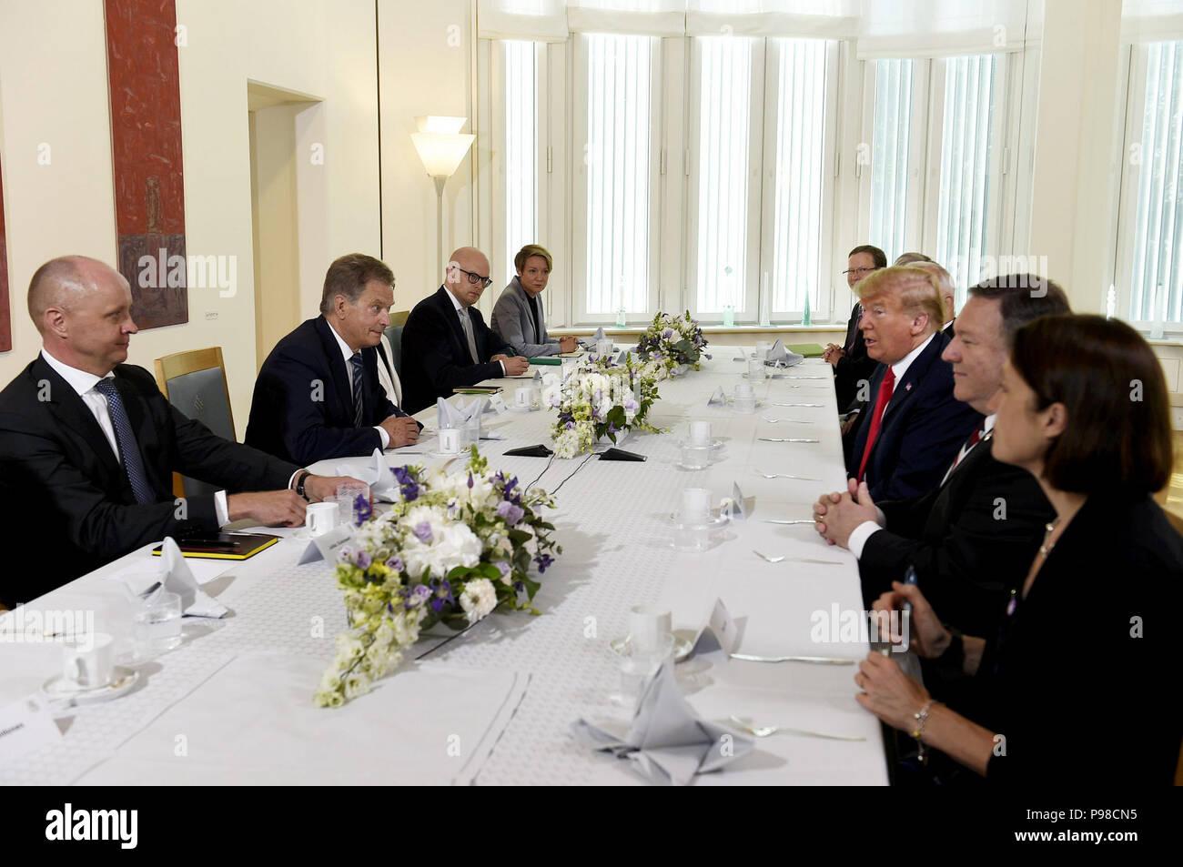 Helsinki, Finland. 16th July, 2018. U.S. President Donald Trump (3rd R) meets with Finnish President Sauli Niinisto (2nd L) in Helsinki, Finland, on July 16, 2018. Credit: Lehtikuva/Martti Kainulainen/Xinhua/Alamy Live News Stock Photo