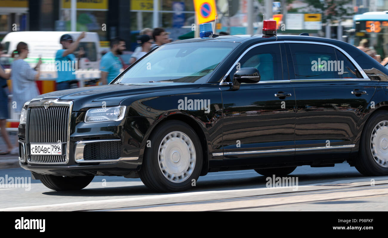 Helsinki, Finland. 16th July 2018. Limousine of the security for the Russian delegation Credit: Hannu Mononen/Alamy Live News Stock Photo