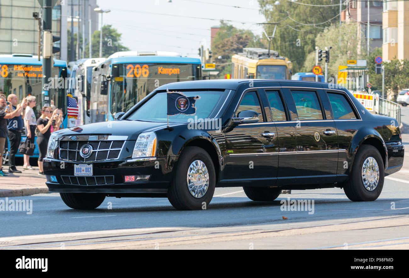 """Helsinki, Finland. 16th July 2018. Cadillac limousine """"The Beast"""" of the President of the United States Credit: Hannu Mononen/Alamy Live News Stock Photo"""