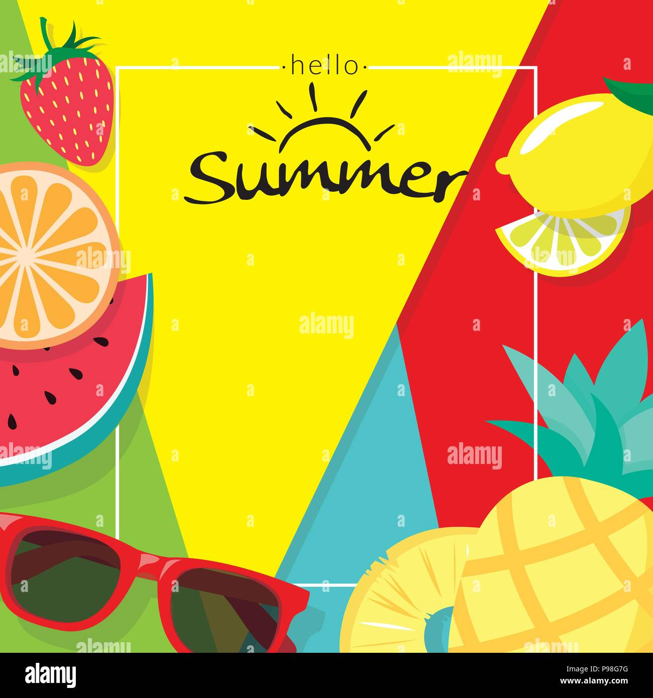 word hello summer with copy space template banner with pieces of