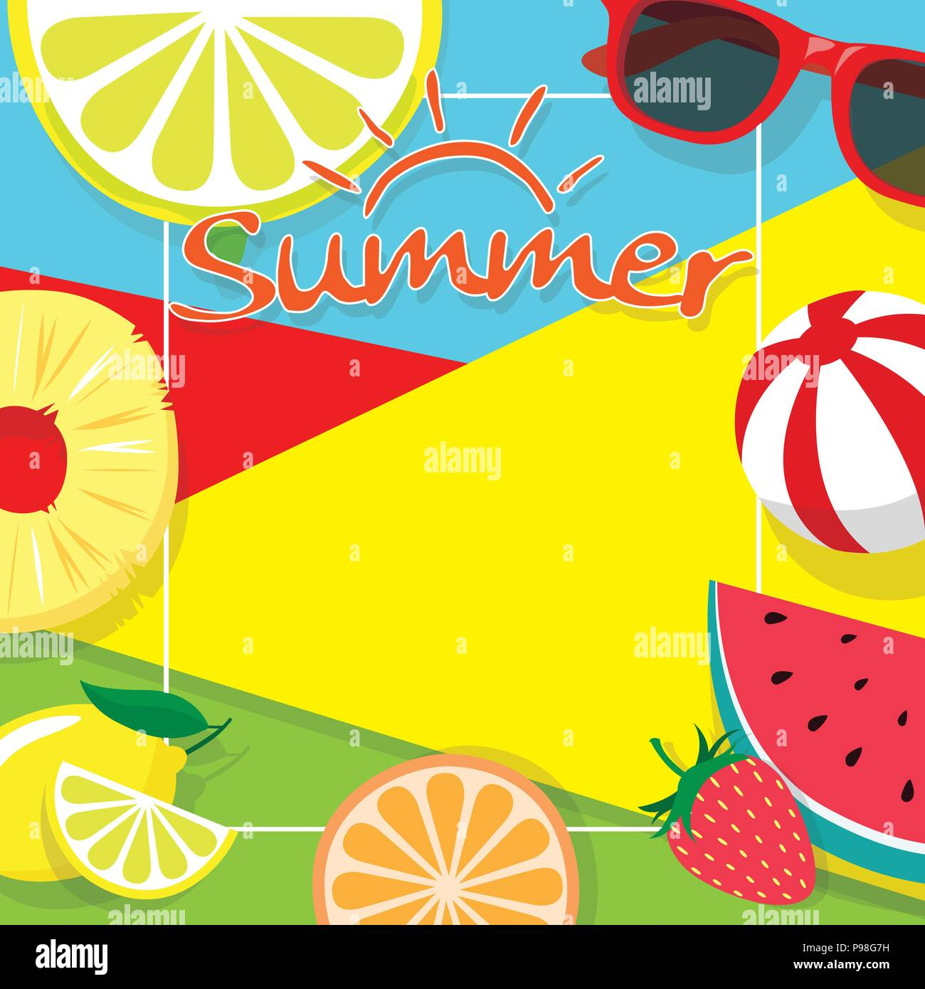 colorful summer theme background copy space template banner with