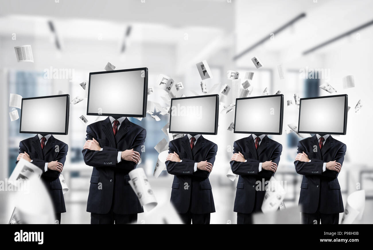 Television addiction of business people. - Stock Image
