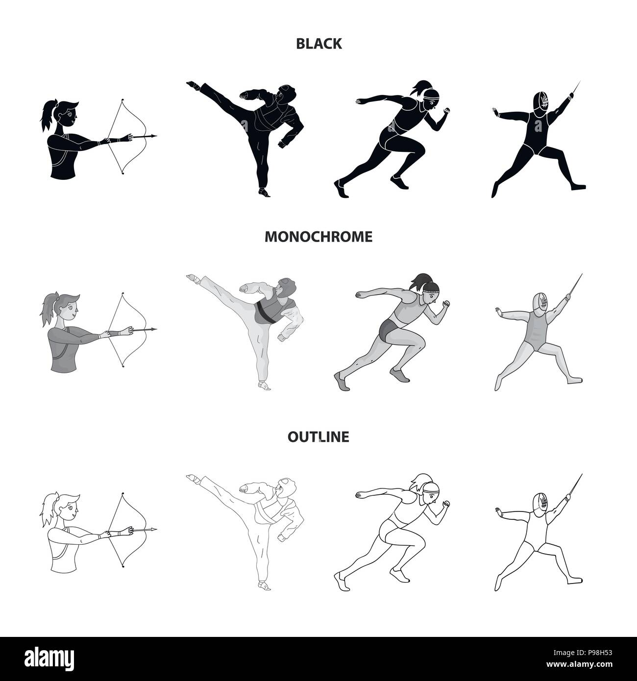 Archery, karate, running, fencing. Olympic sport set collection icons in black,monochrome,outline style vector symbol stock illustration . - Stock Vector