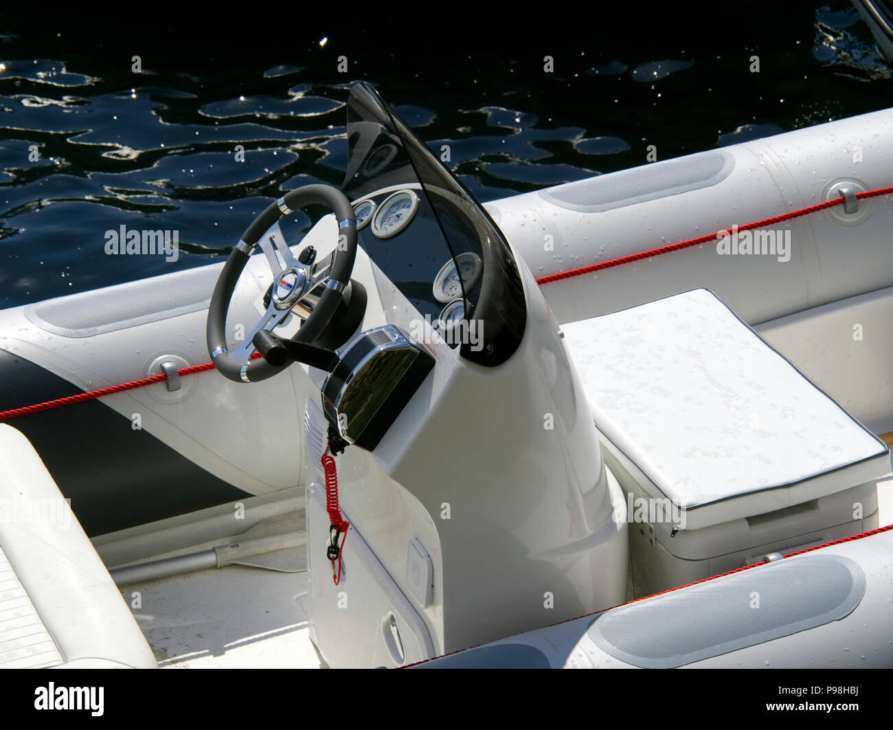Control And Steering Position Of A Modern Rib Rigid Inflatable Boat Stock Photo Alamy