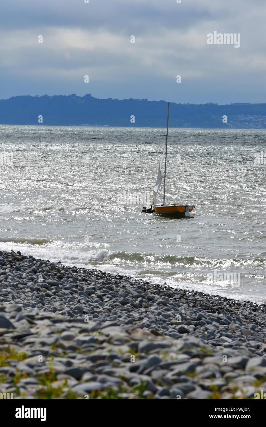 Sailing at Penmaenmawr, North Wales UK - Stock Image