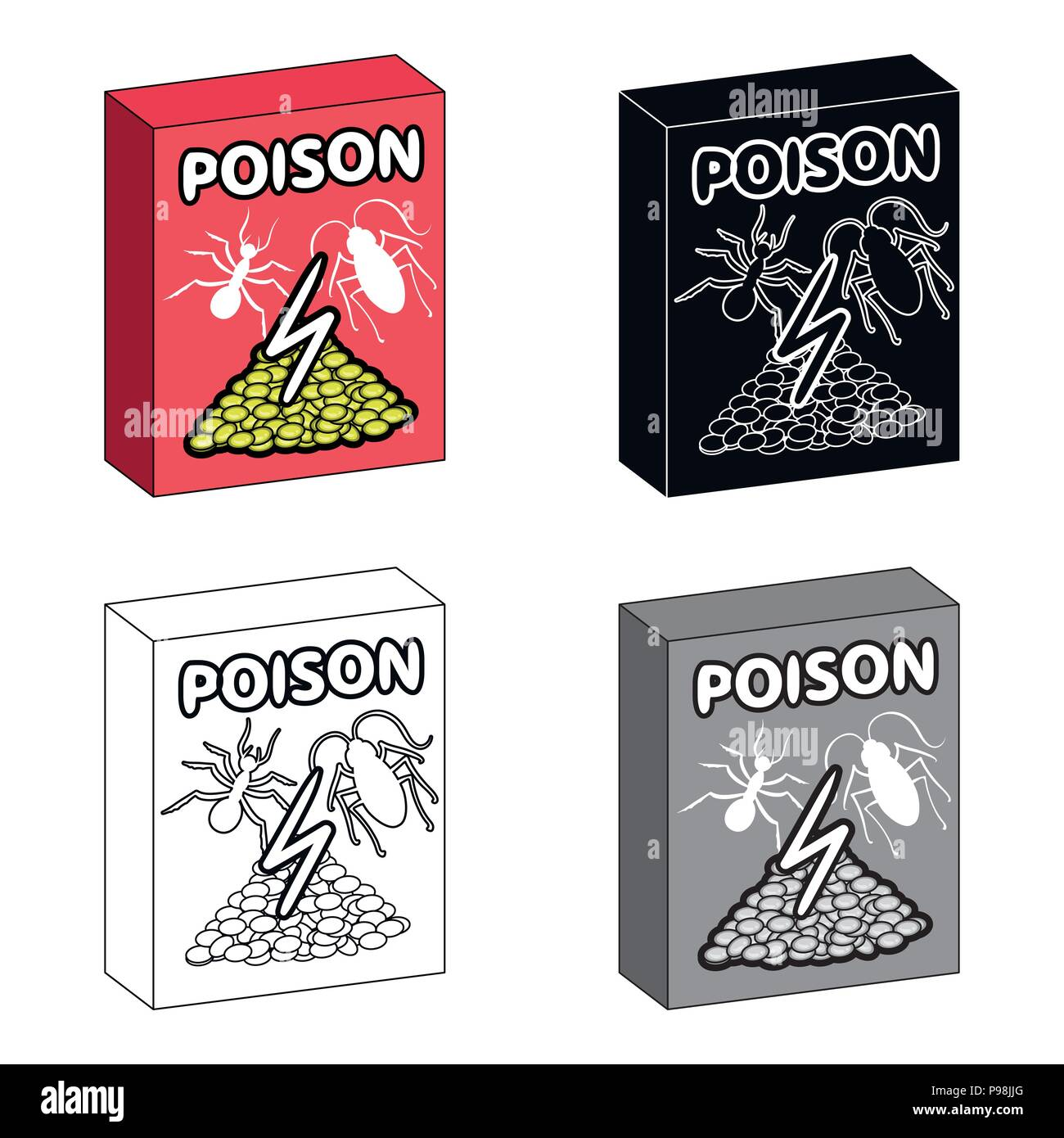Packaging With Poison Single Icon In Cartoonblackoutline