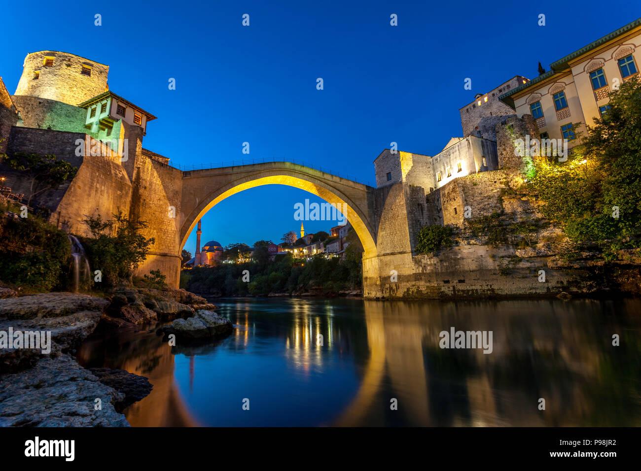 Bridge over the Neretva river Mostar Stari Most Bosnia & Herzegovina Stock Photo