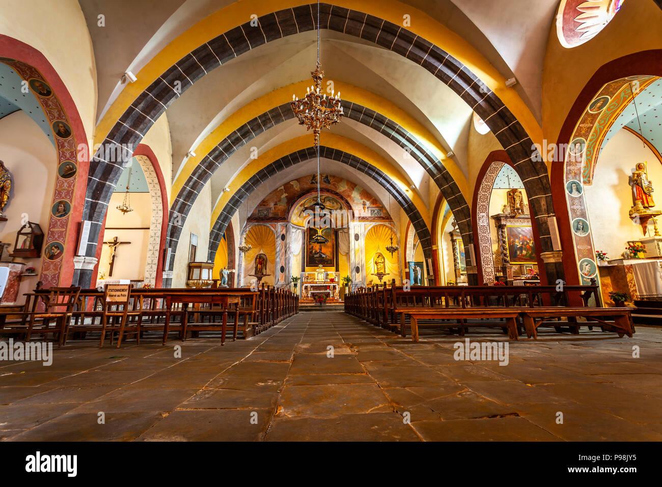 Interior of the church in the Cathar castle of Saissac near ...