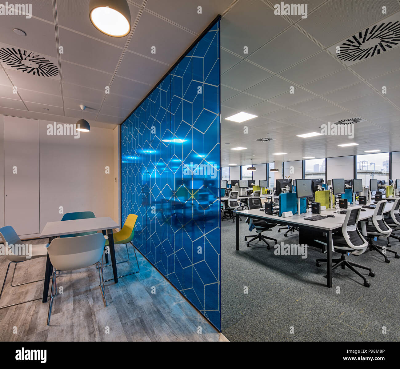 Office partitioning in a modern office at More London - Stock Image