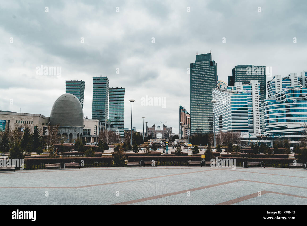 Elevated panoramic city view over Headquarters of the Nur Otan Party in Astana in Kazakhstan Stock Photo