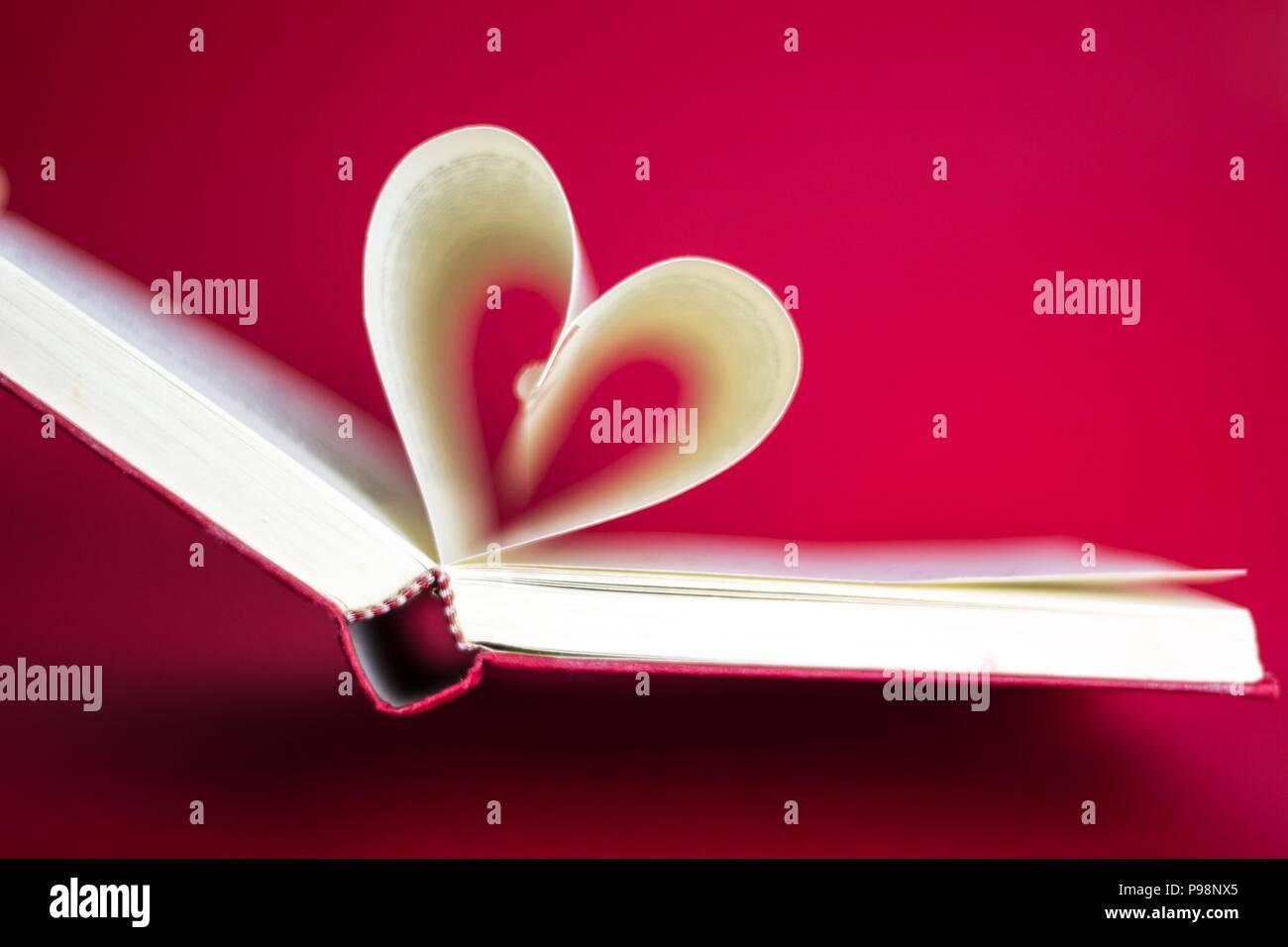 Book Bookcover Love Heartshape Romance Cute Background Red White - Stock Image