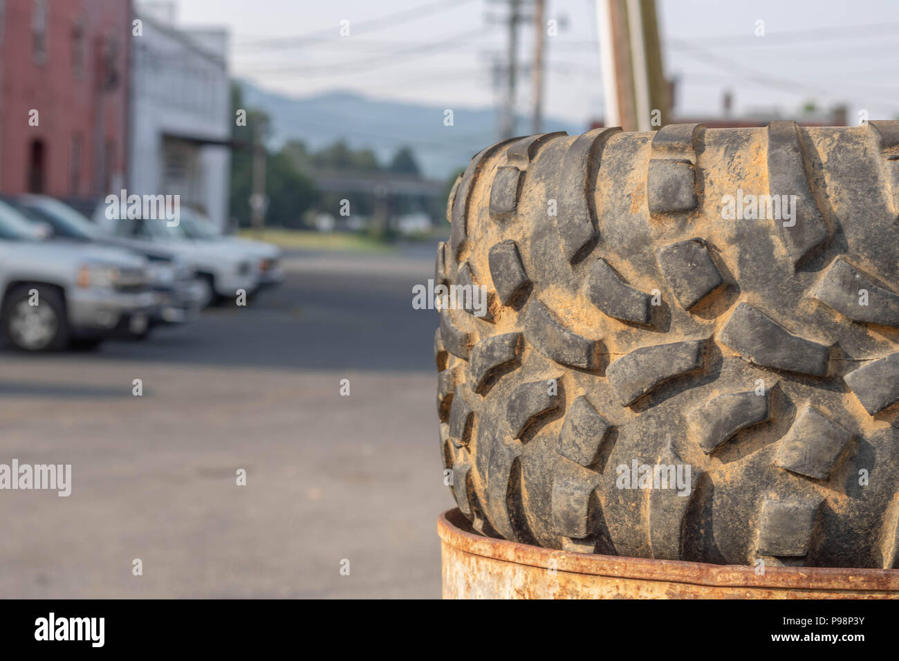 Tire for a quad with nobby tires - Stock Image