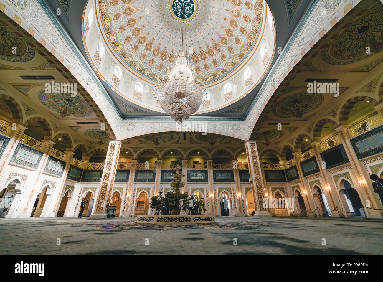 Hazrat Sultan Mosque inside prayer room Astana Kazakhstan Stock Photo