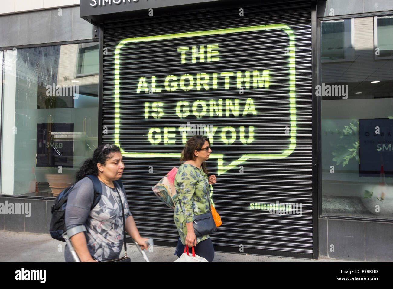 The algorithm is gonna get you by Subdude, opposite Facebook's Rathbone Square HQ in London, U.K. Stock Photo