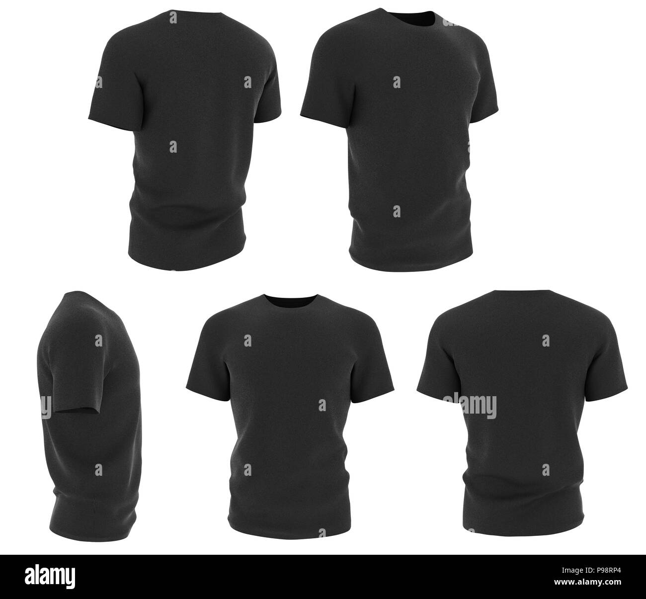 aa2bd6131 Set of man black t-shirts design template isolated on white background. 3d  render