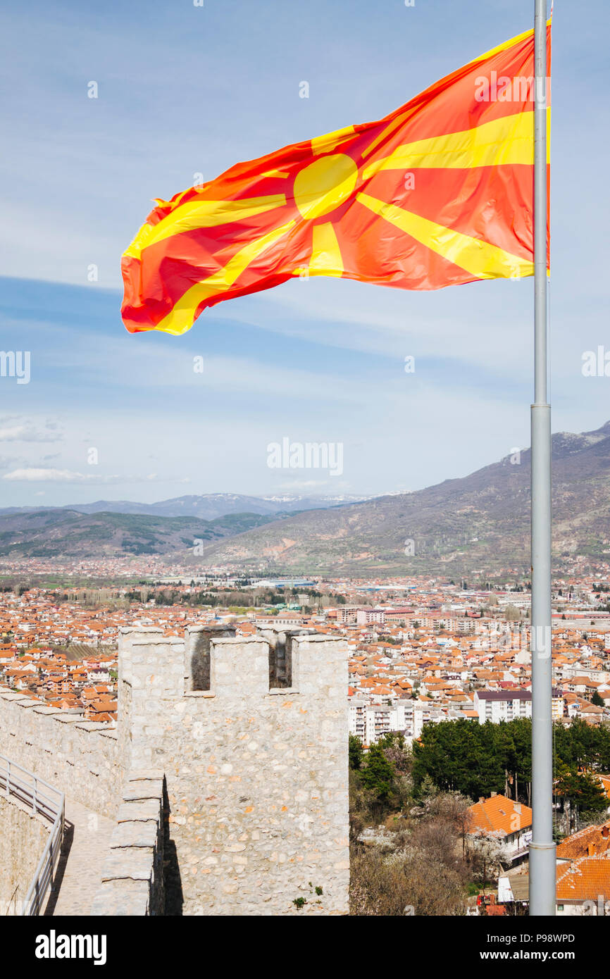 Ohrid, Republic of Macedonia : Macedonian flag on top of Samuel's Fortress and overview of the Unesco listed Ohrid old town and Ohrid lake. Built on t Stock Photo
