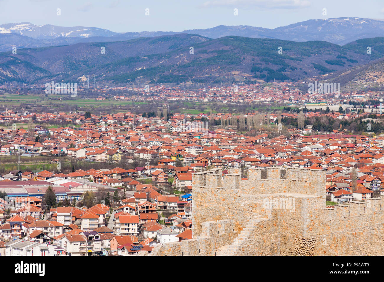 Ohrid, Republic of Macedonia : Samuel's Fortress and overview of the Unesco listed old town of Ohrid. Built on the site of an earlier 4th century BC f - Stock Image