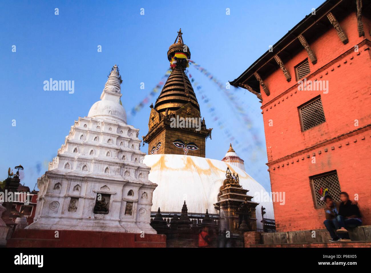 Kathmandu Valley, Nepal : Swayambhunath Buddhist stupa (aka Monkey Temple) west of Katmandu city. - Stock Image