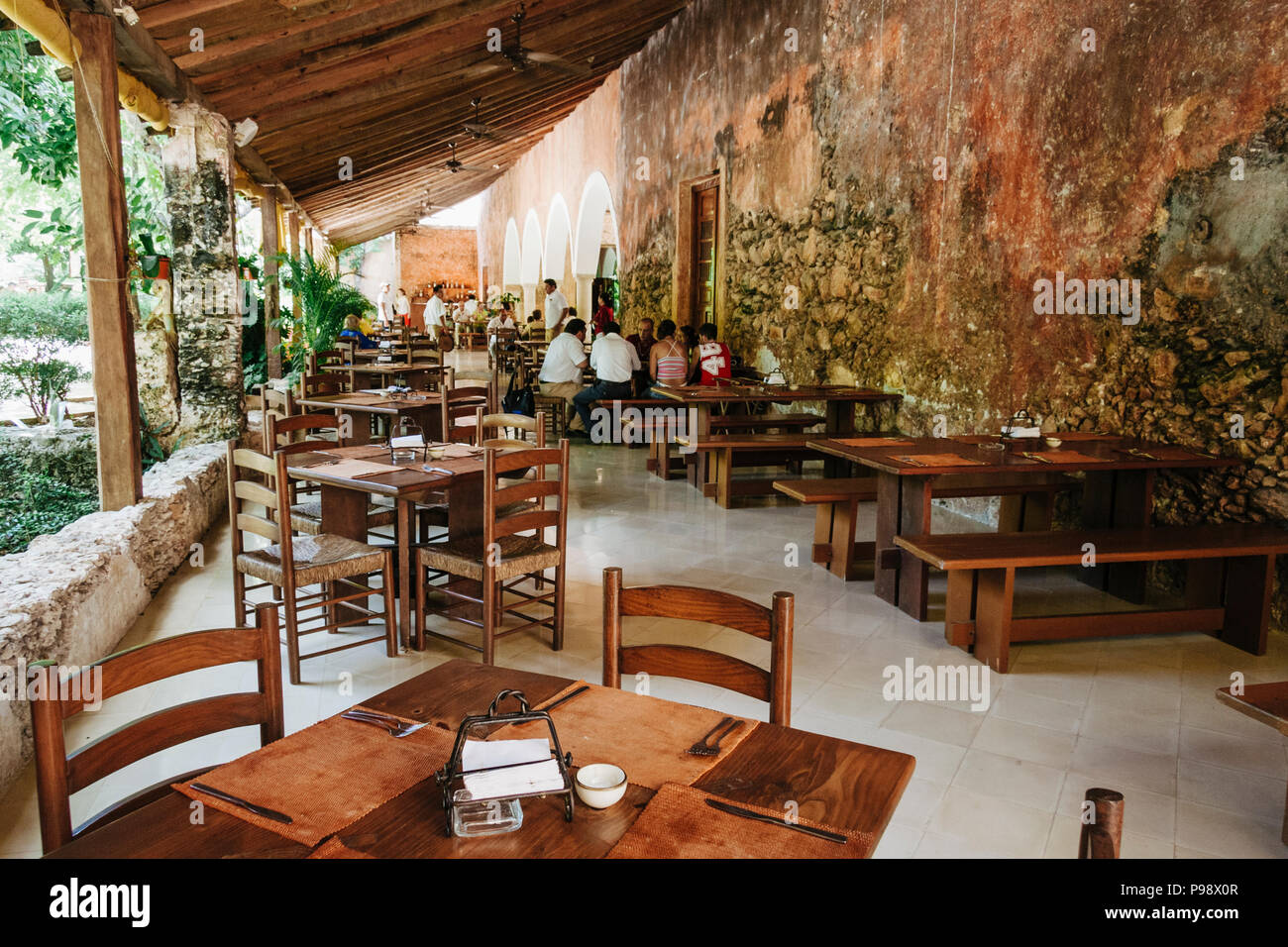 Merida, Yucatan, Mexico : Restaurant at the Hacienda San Pedro Ochil, 38 kms from Merida. Stock Photo